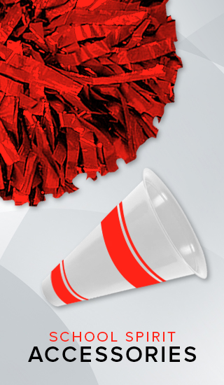 Picture of a pom pom and megaphone. Click to shop School Spirit Accessories.