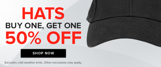 Picture of baseball cap. Hats: buy one, get one 50% off. Excludes cold weather knits. Other exclusions may apply. Click to shop now.